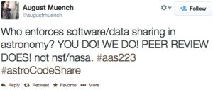 Who enforces software/data sharing in astronomy? YOU DO! WE DO! PEER REVIEW DOES! not snf/nasa #aas223 #astroCodeShare