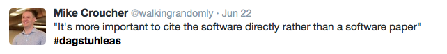 "Tweet: ""It's more important to cite the software directly rather than a software paper"""