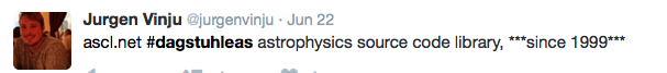 Tweet: astrophysics source code library since 1999