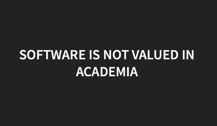Software is not valued in academiz