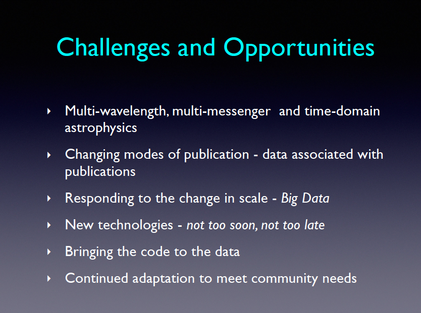 Challenges and Opportunities. Multi-wavelength, multi-messenger and time-domain astrophysics. Changing modes of publication -- data associated with publications. Responding to the change in scale - Big Data. New technologies - not too soon, not too late. Bringing the code to the data. Continued adaptation to meet community needs.