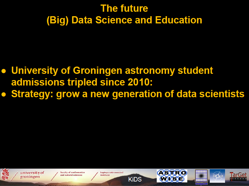 The future: (Big) Data Science and Education. University of Groningen astronomy student admissions tripled since 2010. Strategy: grow a new generation of data scientists