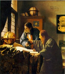 picture combining Vermeer's The Geographer and The Astronomer paintings into one image
