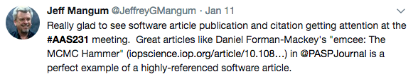 """Really glad to see software article publication and citation getting attention at the #AAS231 meeting. Great articles like Daniel Foreman-Mackey's ""emcee: The MCMC Hammer in PASP is a perfect example of a highly-referenced software article."""
