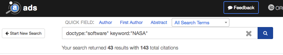 ADS search results for NASA software with 43 records