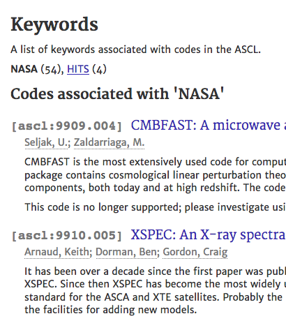 Screenshot showing entries in ASCL with the NASA keyword