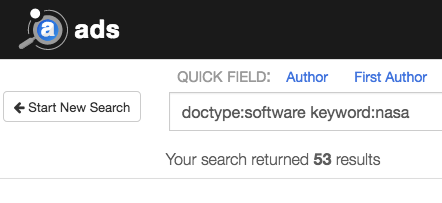 ADS bumblebee query field showing search terms doctype:software keyword:nasa