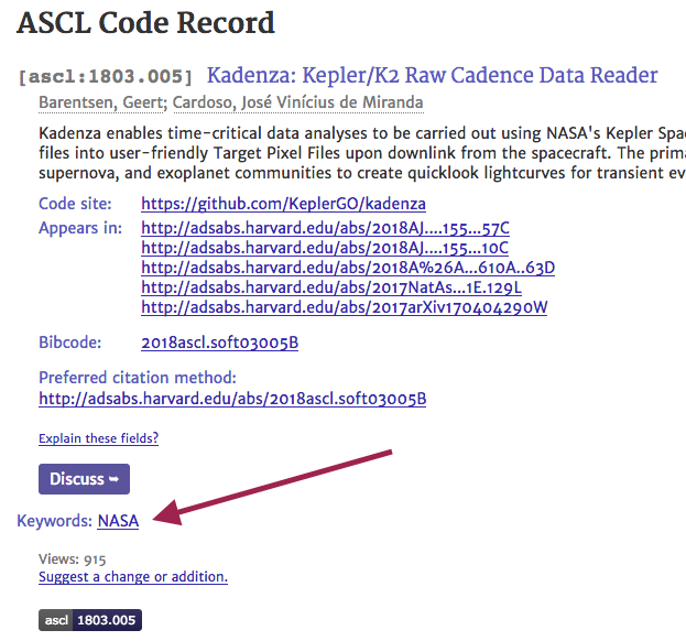 Partial screenshot of Kadenza code entry with a red arrow indication the location of the keywords
