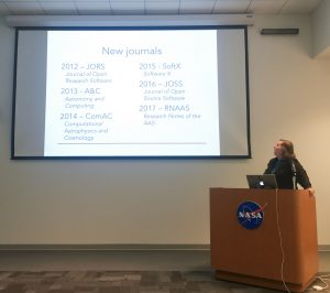 Photo showing slide of new journals friendly to astro computing articles started since 2012