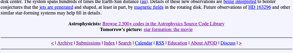 Partial screenshot of APOD page showing link to ASCL